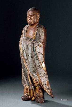 清 加彩木雕羅漢像