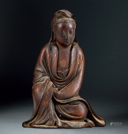 清 竹雕觀音座像