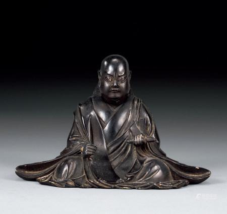 清 木雕嵌琉璃珠佛坐像