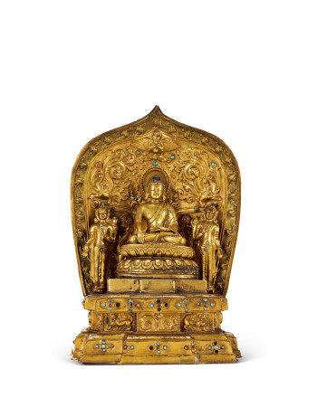 明 銅鎏金釋迦摩尼佛座像