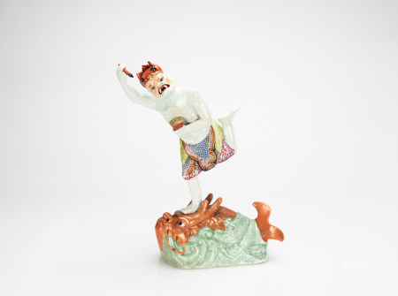 Late Qing/Republic - A Famille - Glazed Figure Of Kuixing