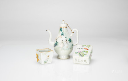 Late Qing - A Group Of Three Famille - Glazed Porcelains( Jar, Cup, Cover Box)