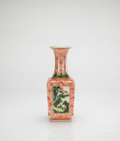 Qing - A Iron Red Sancai Square Base Vase