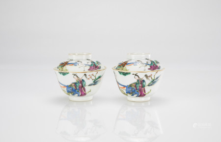 Qing - A Pair Of Famille - Glazed Tea Cup And Covers