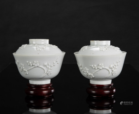Late Qing/Republic - A Pair Of White Glazed Carved 'Blossom' Cover Cups H: 8 cm D: 9.5 cm