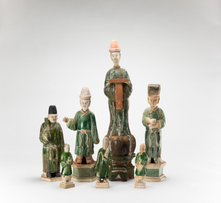Ming - A Group Of Seven Pottery Figures