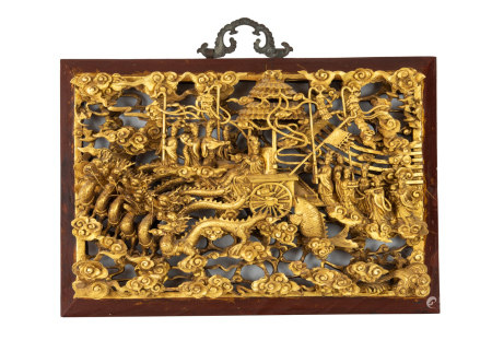 Qing- A Gilt Wood Carved Goddess Queen Hanging Panel