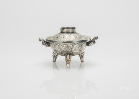 A Silver Carved Flowers Tri - Pod Cover Censer