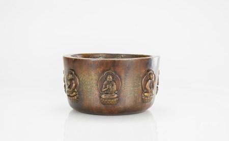 Qing - An Agarwood Carved Buddha Incense Burner with Inscription