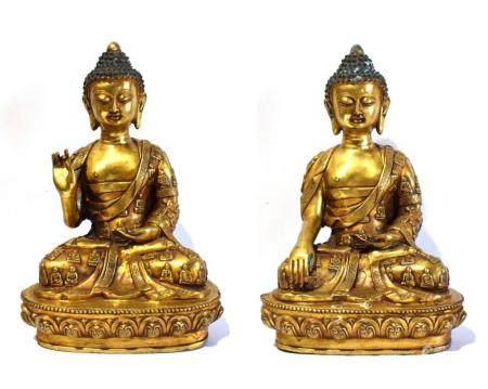 A Rare Pair of Large Sino-Tibetan Gilt Bronze Alloy Buddha, Seated on a Low Lotus Petal Platform, Xuande Mark to the Bottom,