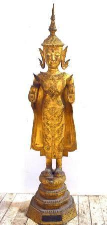 A Very Tall Elegant Figure of a Buddha, Gilt Bronze Alloy, Standing on a Three Tiered Plinth, Rattanakosin Period, Thailand, 19th C.,