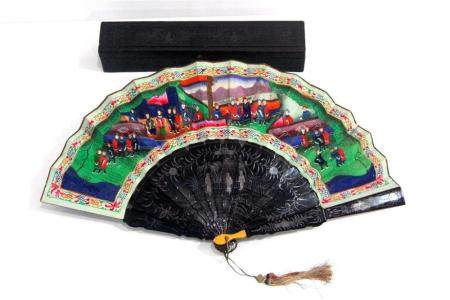 A Mandarin Fan Painted with Lapis & Malachite Front & Reverse, Sixteen Lacquer Sticks & Guards, Qing Dynasty, 19th C.,