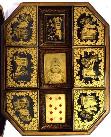 A Chinoiserie Black Lacquer Games Box Painted in Gilt with Fitted Trays, 18th/19th C.,