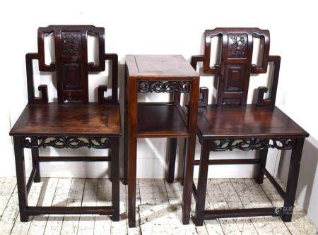 A Fine Pair of Chinese Hongmu Side Chairs & Two Tier Table, Open Carving with a Central Back Splat, Qing Dynasty 19th C.,