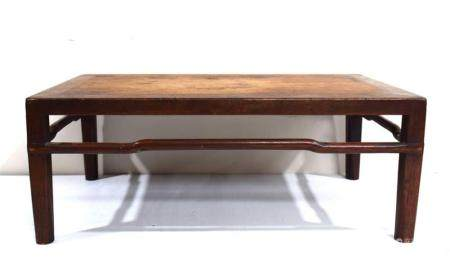 A Low Chinese Huanghuali & Mixed Wood Table, Kang Zhuo, with Plain Apron & Hump Back Stretchers on all Sides, Qing Dynasty 18th/19th...