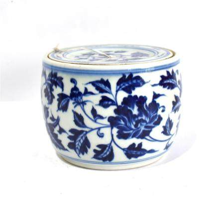 A Chinese Barrel Form Jar & Cover Competently Painted in a Cobalt Blue with a Six Character Xuande Mark to the Cover & Base, Jingdez...