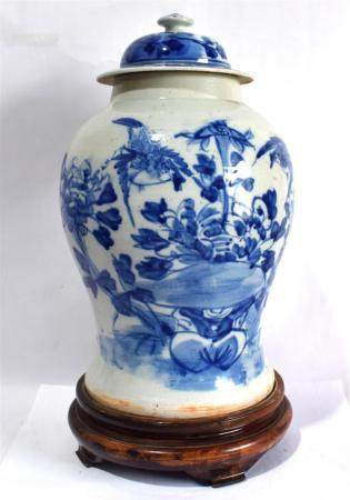 A Large Chinese Covered Jar, Painted in Underglaze Blue on Fitted Stand,