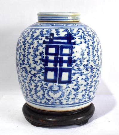 A Large Chinese Blue & White Jar, with Continuous Sweet Pea Scroll & Double Happiness Character, 19th/20th C.,