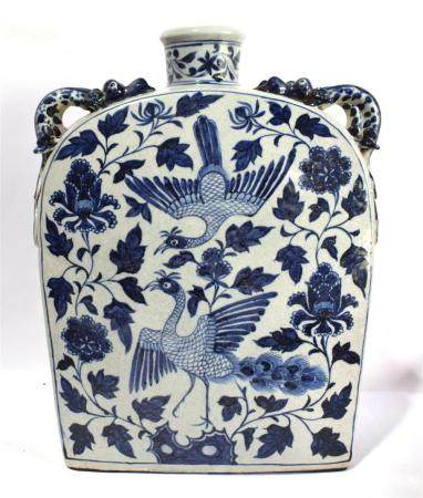 A Large Chinese Porcelain Underglaze Blue Flask with Handles on the Shoulder,