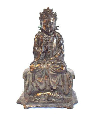 A Chinese Bronze Alloy Bodhisattva Seated on a Draped Rectangular Stool with a Tiger Reclining on the Low Plinth, after the Ming Dyn...