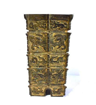A Tall Chinese Bronze Alloy Ritual Shaped Vase Cast with Corner Flanges, the Four Sides Divided into Nine Section, 20th C.,