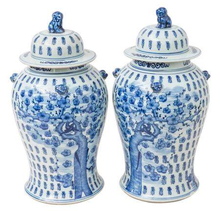 Fine Pair of Chinese Canton Temple Jars