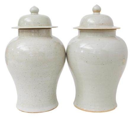Pair of Chinese Temple Jars with Lids