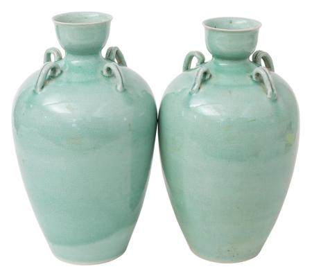 Pair of Chinese Celadon Vases