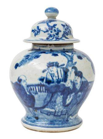 Chinese Canton Temple Jar with Dome Lid