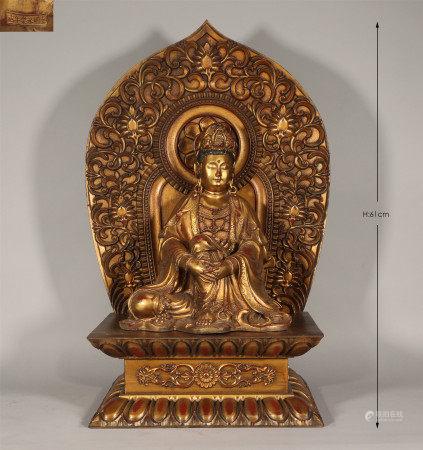 Bronze Gilt Seated Guanyin Yongle Style