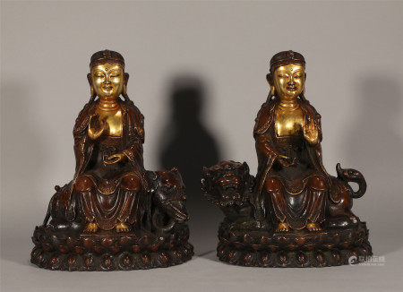 Pair Seated Bronze Gilt Guanyin Yongle Style