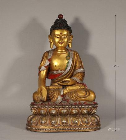 Bronze Gilt Seated Shakyamuni Ming Style