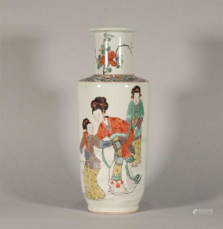 Famille Rose Mallet Vase Yongzheng Style