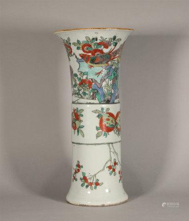 Famille Verte Beaker Vase Kangxi Style