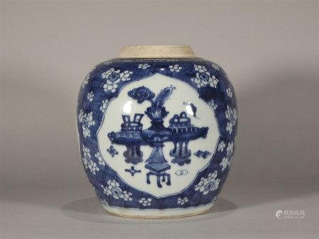 Blue and White Jar Kangxi Style