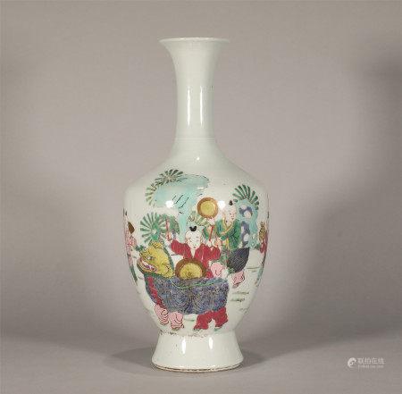 Famille Rose Kids Vase Yongzheng Style