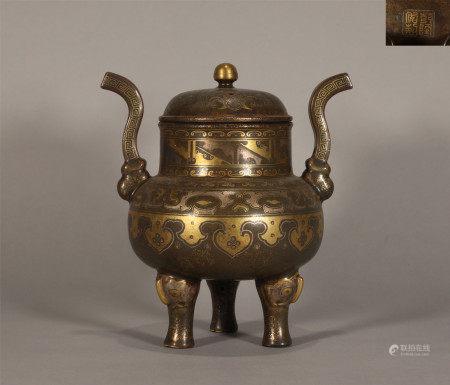An Aubergine Glaze and Gilt Incense Burner Qianlong Period