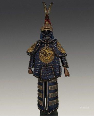 A QING MANCHU MILITARY SILK ARMOR AND HELMET SET