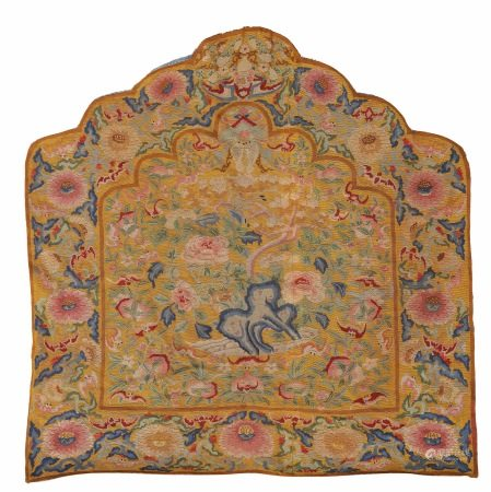 A YELLOW-GROUND BIRD AND FLOWER EMBROIDERY BACK CUSHION