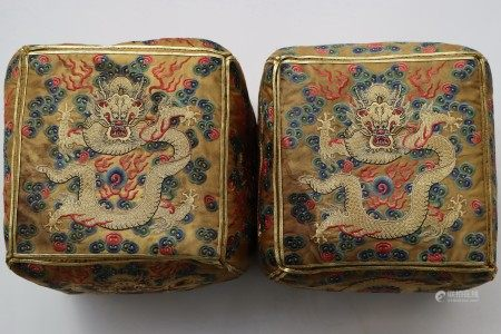 A PAIR OF QING SILK EMBROIDERED DRAGON PILLOWS