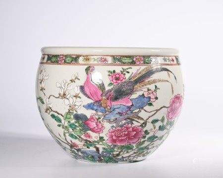 A FAMILLE ROSE BIRD AND FLOWER PORCELAIN VAT