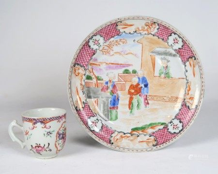 A SET OF CHINESE EXPORT PORCELAIN PLATE & CUP