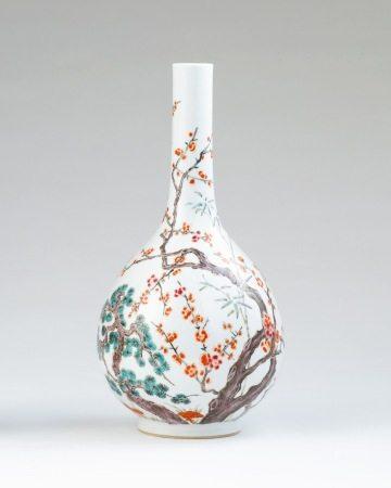 18世纪 五彩松竹梅胆瓶