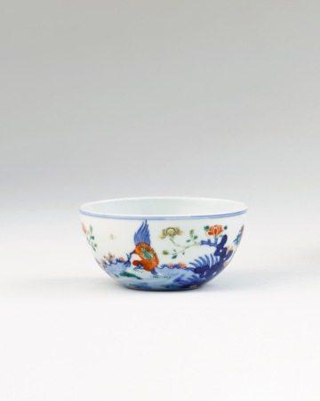 清康熙 五彩鸡缸杯