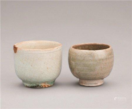 晋代(265-439) 越窑青瓷小杯 影青小杯 (二件一组)