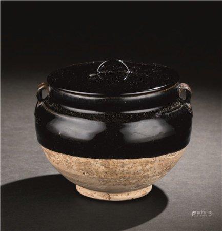 宋代(960-1279) 黑釉双系罐