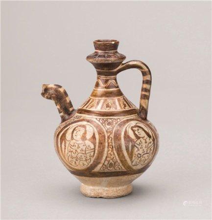 希腊褐釉人物纹小执壶