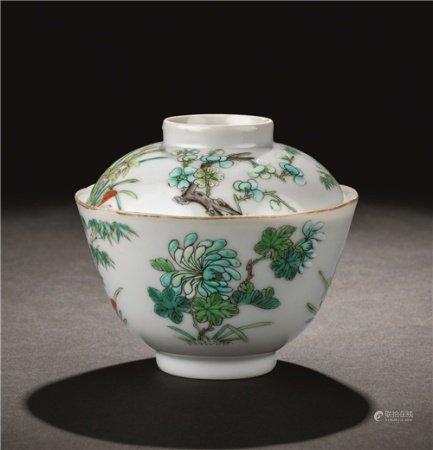 清道光(1821-1850) 粉彩四君子纹盖碗