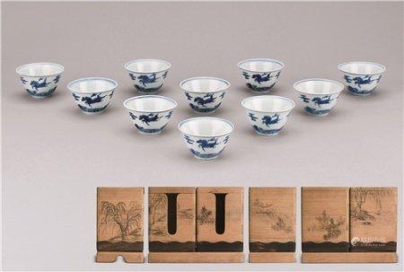 明嘉靖(1522-1566) 青花瑞兽纹茶杯 (十件一组)
