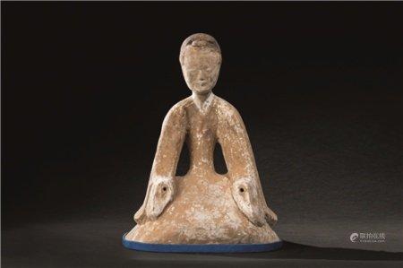 汉代(B.C.206-A.D.220) 陶加彩仕女座像